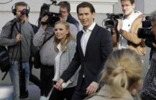 Foreign Minister Sebastian Kurz, head of Austrian People's Party, and his girlfriend Susanne Thier arrive to the polling station to casts their vote in Vienna, Austria, Sunday, Oct. 15, 2017, when about 6.4 million people are eligible to vote in the national elections. (ANSA/AP Photo/Matthias Schrader) [CopyrightNotice: Copyright 2017 The Associated Press. All rights reserved.]
