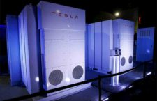 01 May 2015, Hawthorne, California, USA --- Tesla Energy batteries for businesses and utility companies are pictured providing energy for the Tesla Motors Powerwall Home Battery event in Hawthorne, California April 30, 2015. Tesla Motors Inc unveiled Tesla Energy - a suite of batteries for homes, businesses and utilities - a highly-anticipated plan to expand its business beyond electric vehicles. REUTERS/Patrick T. Fallon --- Image by © PATRICK T. FALLON/Reuters/Corbis