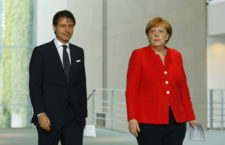 BERLIN, GERMANY - JUNE 18: German Chancellor Angela Merkel and Italian Prime Minister Giuseppe Conte arrive to address the media upon's Conte's arrival at the Chancellery on June 18, 2018 in Berlin, Germany. This is Conte's first visit to Germany since he recently took office. (Photo by Michele Tantussi/Getty Images)