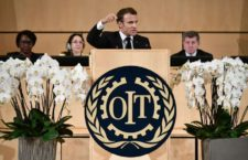 French President Emmanuel Macron delivers a speech at the ILO International Labour Conference on June 11, 2019 in Geneva. / AFP / FABRICE COFFRINI