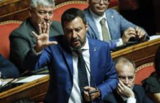 Italian Interior Minister, Deputy Premier and Secretary of Italian party Lega (League), Matteo Salvini, during the debate for the calendar of the government crisis in the Senate Chamber in Rome, Italy, 13 August 2019. ANSA/GIUSEPPE LAMI